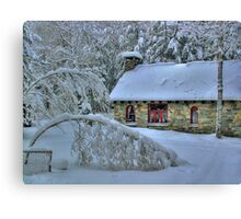 Stone House After Snowstorm Canvas Print