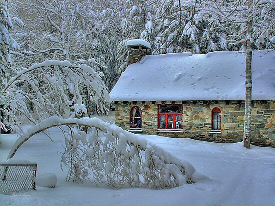 Stone House After Snowstorm by Wayne King