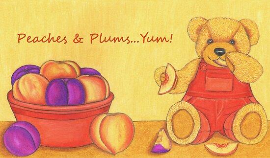 Teddy Bear with Peaches & Plums   by Paula Parker