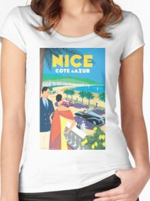 French Riviera Classic Vintage Travel Poster Women's Fitted Scoop T-Shirt