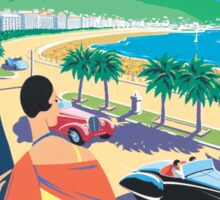 French Riviera Classic Vintage Travel Poster Sticker