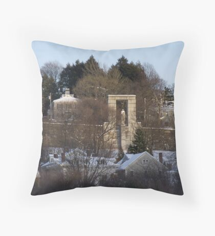 Roger Williams looks over the city of Providence Throw Pillow