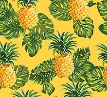Retro Pineapples Tropical Style by Anna Sivak