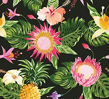 Tropical Flowers in vintage style by Anna Sivak
