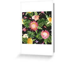 Tropical Flowers in vintage style Greeting Card