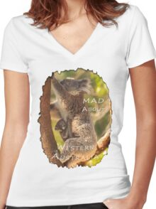 Koala & Cub - MAD About Western Australia Women's Fitted V-Neck T-Shirt