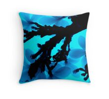 Blue Neon Frangipanis Throw Pillow
