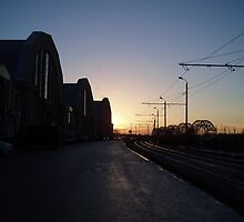 Sunset by the old airship hangars by erwina