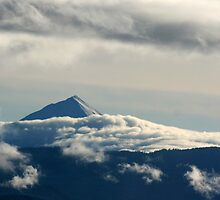Low Clouds Surround the Mountain by CherylAdams