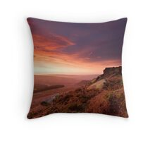 The arrival of dawn over Higger Tor Throw Pillow