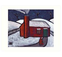 Little Red House Snowscene Art Print