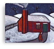 Little Red House Snowscene Canvas Print