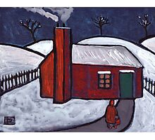 Little Red House Snowscene Photographic Print