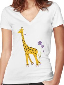 Yellow Cartoon Funny Giraffe Roller Skating Women's Fitted V-Neck T-Shirt
