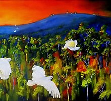 """Flight West""  Acrylic painting on canvas by Sandra  Sengstock-Miller"