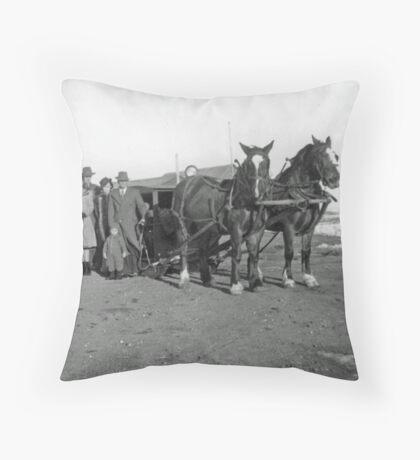 Old Sleigh Team Throw Pillow