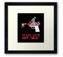 Make Love Not War - Gun - Black Framed Print