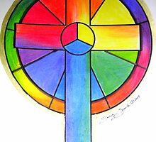 Color Wheel Cross by Sandy Sparks