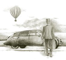 man with a veteran car  by art-koncept