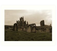 Whitby Abbey Overlooking Graveyard Art Print