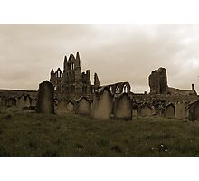 Whitby Abbey Overlooking Graveyard Photographic Print