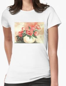 ROMANTIC CORAL-RED ROSES IN VASE  Womens Fitted T-Shirt
