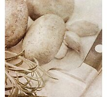 Still life of Chestnut mushrooms and Rosemary Photographic Print