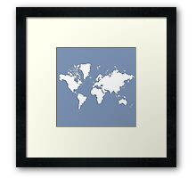 World Splatter Map - wpowder blue Framed Print