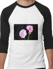 Two Pink Calla Lilies Men's Baseball ¾ T-Shirt