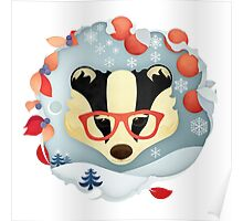 Christmas Wildlife: Badger Poster