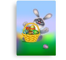 Easter Bunny with Egg Basket Canvas Print