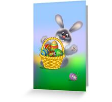 Easter Bunny with Egg Basket Greeting Card