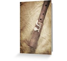 Still life of old wooden flute Greeting Card