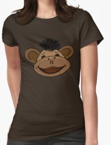 cartoon style monkey head Womens Fitted T-Shirt