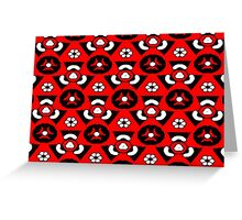 Red triangles and white flower pattern Greeting Card