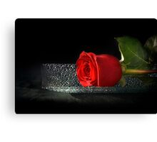 Rose On A Glass Tray Canvas Print