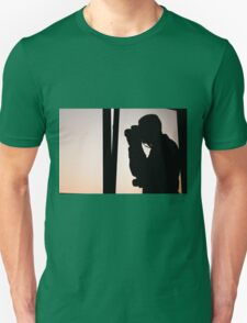 Silhouette photograph with purple sky background Unisex T-Shirt