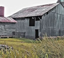 """Nostalgic Old Barn, the Back Side"" ...with a matted and framed presentation for prints and products  Sticker"
