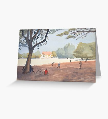 Cricket match, India by Nick Clark Greeting Card