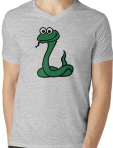 Green comic snake Mens V-Neck T-Shirt