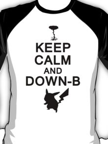 Keep Calm and Down-B Pikachu [Black] T-Shirt