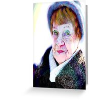 Her funny hazel eyes and funny blue hat... Greeting Card