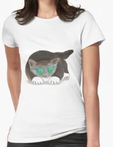 Kitty wearing Sunglasses Womens Fitted T-Shirt
