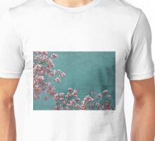 Pink Apple Blossoms on Teal Blue Green Sky Unisex T-Shirt