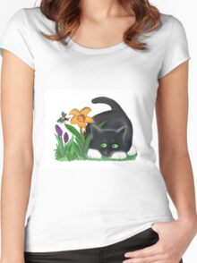 Bee and Kitten in Spring Garden Women's Fitted Scoop T-Shirt