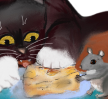 Mouse and Kitten Share the Swiss Cheese Sticker