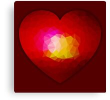 Red geometric burning heart Canvas Print