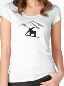 Snowboarder mountains Women's Fitted Scoop T-Shirt