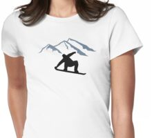 Snowboarder mountains Womens Fitted T-Shirt