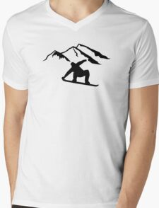 Mountains snowboarding Mens V-Neck T-Shirt